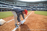 Whitney Black of the grounds crew works on the field at Oxford-University Stadium in Oxford, Miss. on Tuesday, February 23, 2010.