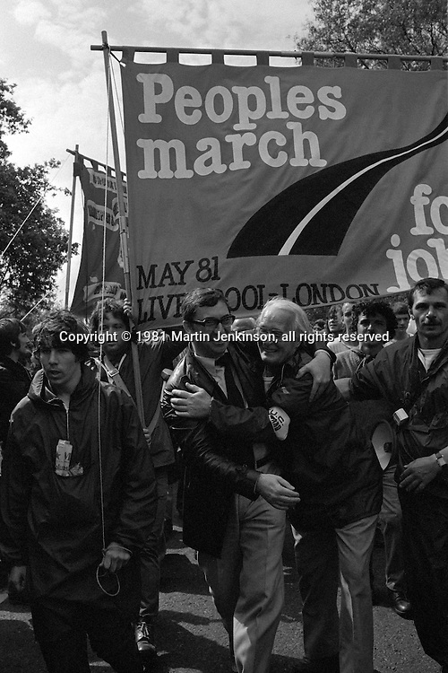 People's  March for Jobs, Yorkshire and Liverpool to London. Lavendon to Bedford 23/05/1981
