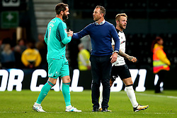 Derby County manager Gary Rowett shakes the hand of Scott Carson of Derby County - Mandatory by-line: Robbie Stephenson/JMP - 15/08/2017 - FOOTBALL - Pride Park Stadium - Derby, England - Derby County v Preston North End - Sky Bet Championship