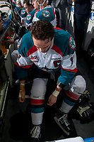 KELOWNA, CANADA - APRIL 7: Rodney Southam #17 of the Kelowna Rockets tapes his socks on the bench against the Portland Winterhawks on April 7, 2017 at Prospera Place in Kelowna, British Columbia, Canada.  (Photo by Marissa Baecker/Shoot the Breeze)  *** Local Caption ***