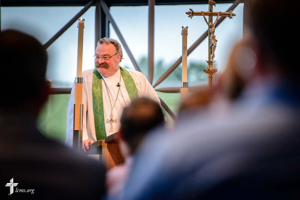 The Rev. Dr. Matthew C. Harrison, LCMS president, preaches at worship during floor-committee weekend at the International Center of The Lutheran Church–Missouri Synod on Saturday, May 28, 2016, in Kirkwood, Mo. LCMS Communications/Erik M. Lunsford