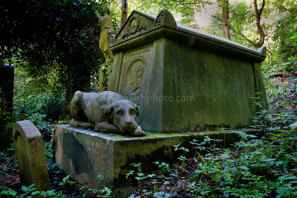Thomas Sayers tomb with dog, Highgate Cemetery London