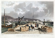 Plymouth Breakwater from the West. Built by John Rennie, it was begun in 1812 and completed in 1841. From 'Devonshire Illustrated', 1829.