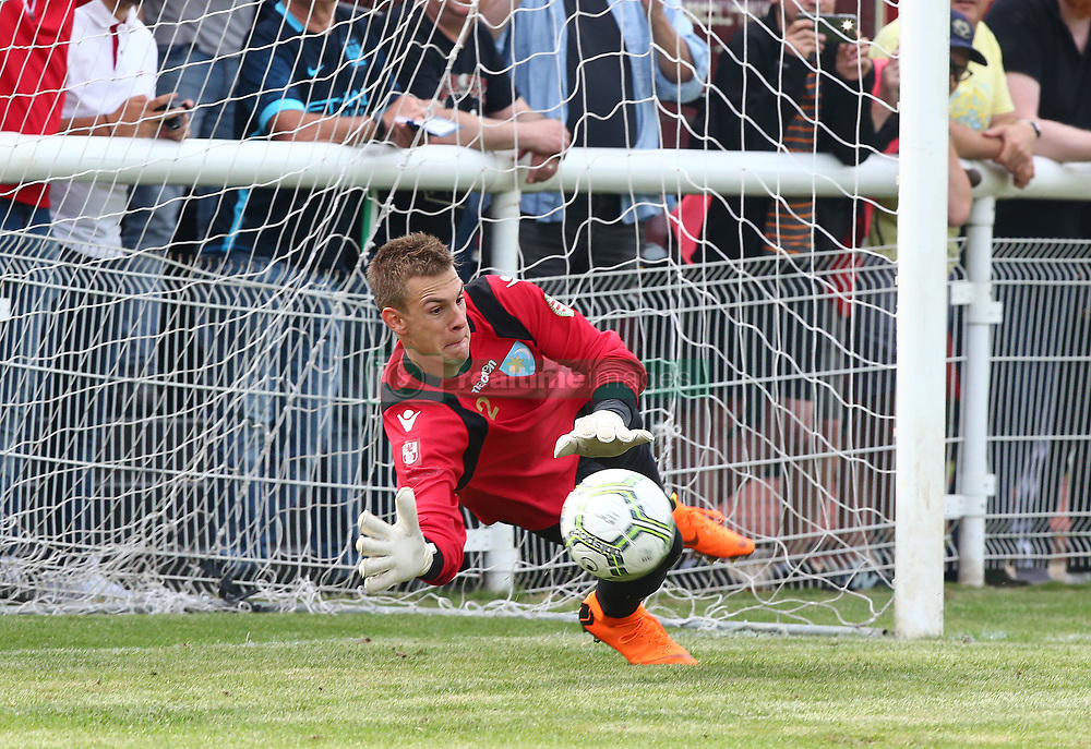 June 9, 2018 - London, England, United Kingdom - Bela Barna Nagy of Szekely Land  save a penalty.during Conifa Paddy Power World Football Cup 2018 Bronze Medal Match Third Place Play-Off between Padania v Szekely Land at Queen Elizabeth II Stadium (Enfield Town FC), London, on 09 June 2018  (Credit Image: © Kieran Galvin/NurPhoto via ZUMA Press)