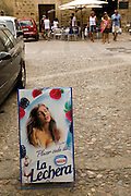 A Nestle poster displayed in a parking lot in the town of Pals, Costa Brava, Spain. Pals is a medieval town in Catalonia a few kilometers from the sea in the heart of the Bay of Emporda on the Costa Brava.