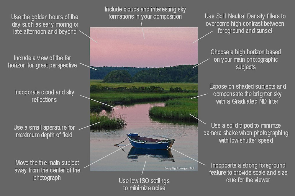 How to take better landscape photography images - a free photo tip cheat sheet ready for download.