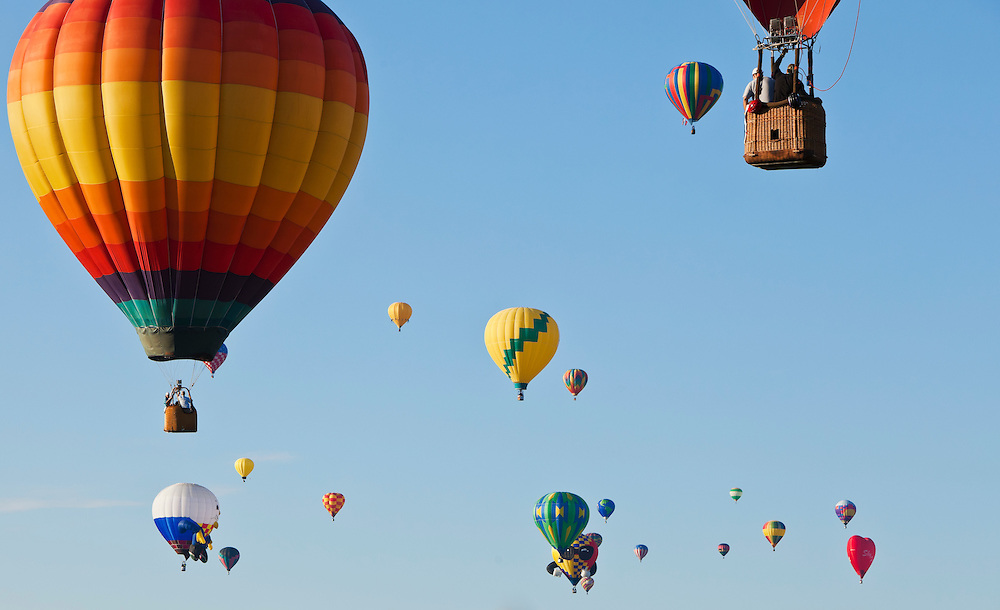 Hot air balloons flying over Albuquerque, New Mexico during the 2010 Hot Air Balloon Festival (Fiesta).