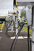 Charging points for the Ecolink zero emissions buses in the bus depot in Nottingham, Nottinghamshire, United Kingdom. Using electric buses is part of Nottingham City Council's campaign to reduce noise and air pollution.  (photo by Andrew Aitchison / In pictures via Getty Images)