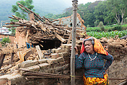 Subas Chandra, 82, is forced to seek shelter in a temporary camp after her home was destroyed by the 2015 Nepal earthquake.