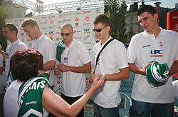 Lorbek, Zupan, Nebojsa Joksimovic, Jaka Klobucar and Emir Preldzic at press conference and after time with fans of Slovenian basketball National Team before departure to Athens for Olympic qualifications, on July 12, 2008, at Presernov trg, in Ljubljana, Slovenia. (Photo by Vid Ponikvar / Sportal Images)