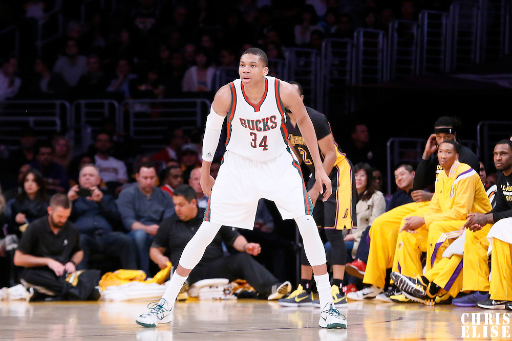 27 February 2015: Milwaukee Bucks forward Giannis Antetokounmpo (34) is seen on defense during the Los Angeles Lakers 101-93 victory over the Milwaukee Bucks, at the Staples Center, Los Angeles, California, USA.