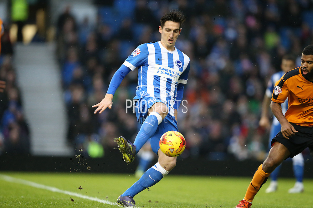 Brighton central defender, Lewis Dunk (5) during the Sky Bet Championship match between Brighton and Hove Albion and Wolverhampton Wanderers at the American Express Community Stadium, Brighton and Hove, England on 1 January 2016.