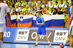 Grega Ocvirk of Slovenia during handball match between National teams of Portugal and Slovenia in Semifinal of 2018 EHF U20 Men's European Championship, on July 27, 2018 in Arena Zlatorog, Celje, Slovenia. Photo by Urban Urbanc / Sportida