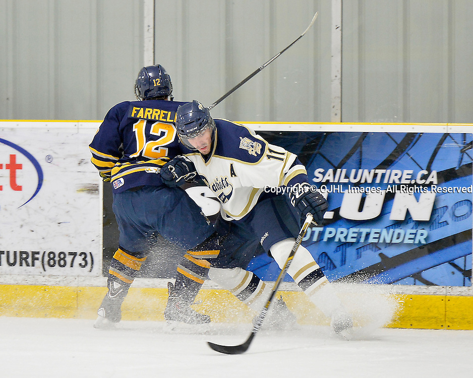 TORONTO, ON - Dec 20, 2014 : Ontario Junior Hockey League game action between Buffalo and Toronto Lakeshore. Niko Kovachis #11 of the Toronto Patriots makes the hit on Collin Farrell #12 of the Buffalo Junior Sabres during the third period.<br /> (Photo by Shawn Muir / OJHL Images)