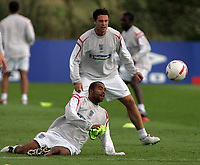 Photo: Paul Thomas.<br /> England Training Session. 01/09/2006.<br /> <br /> New Chelsea team mates Ashley Cole (Front) and Wayne Bridge.
