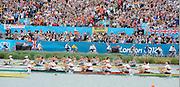 Eton Dorney, Windsor, Great Britain,..2012 London Olympic Regatta, Dorney Lake. Eton Rowing Centre, Berkshire[ Rowing]...Description;  Men's Eights Final..GER.M8+. Filip ADAMSKI (b) , Andreas KUFFNER (2) , Eric JOHANNESEN (3) , Maximilian REINELT (4) , Richard SCHMIDT (5) , Lukas MUELLER (6) , Florian MENNIGEN (7) , Kristof WILKE (s) , Martin SAUER (c).CAN.M8+.  Gabriel BERGEN (b) , Douglas CSIMA (2) , Rob GIBSON (3) , Conlin MCCABE (4) , Malcolm HOWARD (5) , Andrew BYRNES (6) , Jeremiah BROWN (7) , Will CROTHERS (s) , Brian PRICE (c).GBR.M8+ Alex PARTRIDGE (b) , James FOAD (2) , Tom RANSLEY (3) , Richard EGINGTON (4) , Mohamed SBIHI (5) , Greg SEARLE (6) , Matt LANGRIDGE (7) , Constantine LOULOUDIS (s) , Phelan HILL (c).USA.M8+ David BANKS (b) , Grant JAMES (2) , Ross JAMES (3) , William MILLER (4) , Giuseppe LANZONE (5) , Stephen KASPRZYK (6) , Jacob CORNELIUS (7) , Brett NEWLIN (s) , Zachary VLAHOS (c).NED.M8+. Sjoerd HAMBURGER (b) , Diederik SIMON (2) , Rogier BLINK (3) , Matthijs VELLENGA (4) , Roel BRAAS (5) , Jozef KLAASSEN (6) , Olivier SIEGELAAR (7) , Mitchel STEENMAN (s) , Peter WIERSUM (c).AUS.M8+. Matthew RYAN (b) , Francis HEGERTY (2) , Cameron MCKENZIE MCHARG (3) , Bryn COUDRAYE (4) , Thomas SWANN (5) , Joshua BOOTH (6) , Samuel LOCH (7) , Nicholas PURNELL (s) , Tobias LISTER (c)  Dorney Lake. 12:35:55  Wednesday  01/08/2012.  [Mandatory Credit: Peter Spurrier/Intersport Images].Dorney Lake, Eton, Great Britain...Venue, Rowing, 2012 London Olympic Regatta...