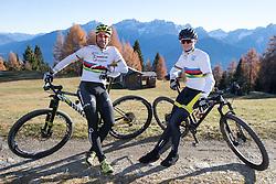 """02.11.2015, Zettelfeld, Thurn, AUT, Dreharbeiten zur ORF-Sendung """"Sport am Sonntag"""", drei Radsport-Weltmeister aus Tirol, im Bild Alban Lakata (UCI Weltmeister Mountainbike Marathon), Felix Gall (UCI Strassenrad Juniorenweltmeister) // during Shooting of ORF broadcast """"Sport am Sonntag"""", three cycling World Champion from Tyrol at Zettersfeld in Lienz, Austria on 2015/11/02. EXPA Pictures © 2015, PhotoCredit: EXPA/ Johann Groder<br /> <br /> ***** ACHTUNG REDAKTEURE - Bei Veröffentlichung vor dem geplanten Sendetermin am 6. November 2015, ist die Nennung """"Dreharbeiten zur ORF-Sendung Sport am Sonntag"""" in der Bildunterschrift/Credit verpflichtend *****"""