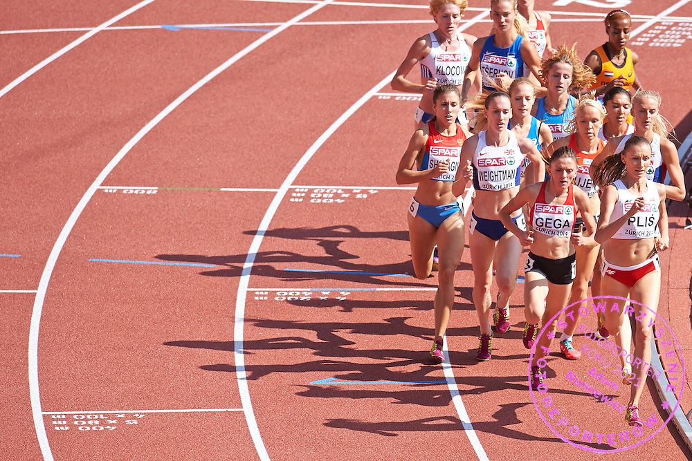Renata Plis from Poland competes in women's 1500 meters qualification during the First Day of the European Athletics Championships Zurich 2014 at Letzigrund Stadium in Zurich, Switzerland.<br /> <br /> Switzerland, Zurich, August 12, 2014<br /> <br /> Picture also available in RAW (NEF) or TIFF format on special request.<br /> <br /> For editorial use only. Any commercial or promotional use requires permission.<br /> <br /> Photo by &copy; Adam Nurkiewicz / Mediasport