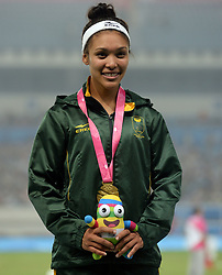 NANJING, Aug. 25, 2014  Gold medalist Gezelle Magerman of South Africa reacts during the awarding ceremony of women's 400m hurdles at the Nanjing 2014 Youth Olympic Games in Nanjing, east China's Jiangsu Province, Aug. 25, 2014. (Credit Image: © Xinhua via ZUMA Wire)