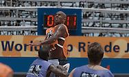 Football-FIFA Beach SoccerWorld Cup 2006- Group A- BRA-Official training in Rio's Arena. Junior Neg‹o jump to reach the ball. Rio de Janeiro. Brazil- 01/11/2006.<br />Mandatory credit-FIFA/ Marco Antonio Rezende.