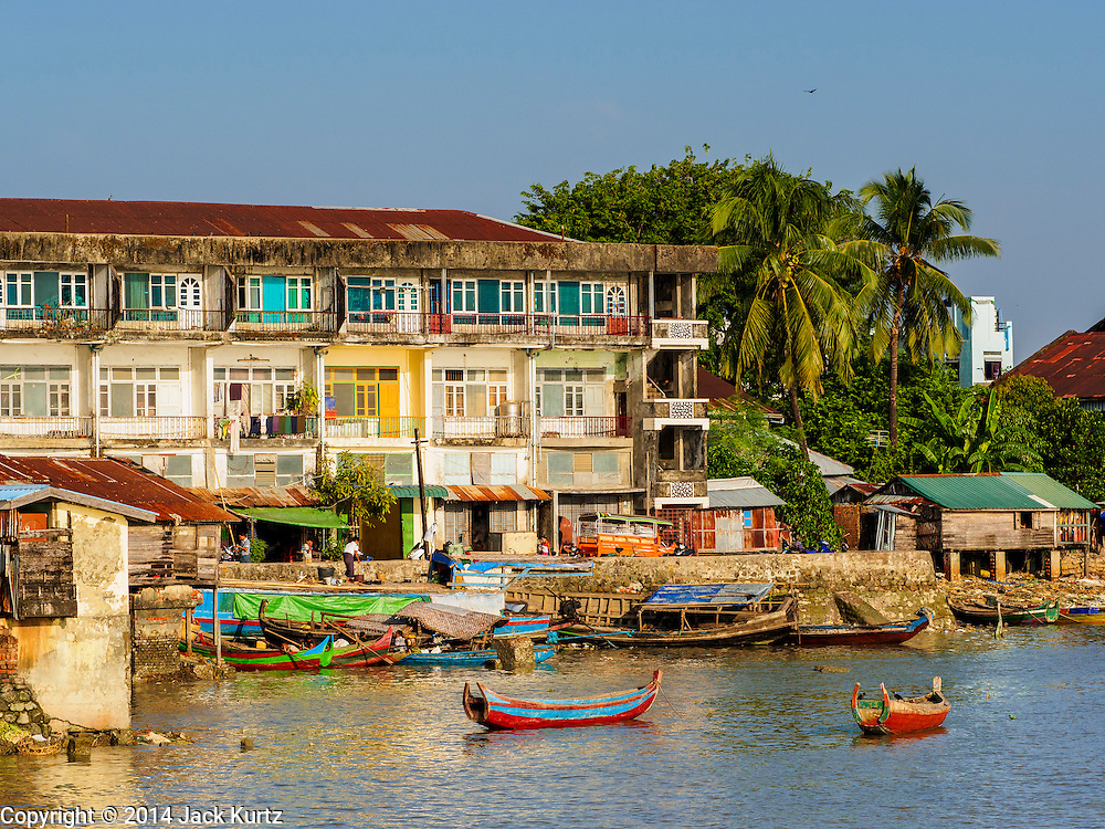 10 NOVEMBER 2014 - SITTWE, MYANMAR: The town of Sittwe seen from the end of the city pier. Sittwe is a small town in the Myanmar state of Rakhine, on the Bay of Bengal.    PHOTO BY JACK KURTZ
