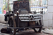 JILIN, CHINA - MAY 21: (CHINA OUT) <br /> <br /> Benz Tricycle Appears<br /> <br /> A Mercedes-Benz logo hangs on a tricycle on May 21, 2014 in Jilin, Jilin Province of China. <br /> ©Exclusivepix