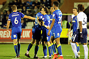 AFC Wimbledon attacker Egli Kaja (21) celebrating after scoring goal to make it 2-2 during the EFL Trophy match between AFC Wimbledon and Tottenham Hotspur at the Cherry Red Records Stadium, Kingston, England on 3 October 2017. Photo by Matthew Redman.
