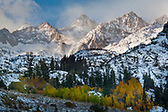 Clearing fall snowstorm over the high peaks of the Eastern Sierra, California