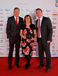 LIVERPOOL, ENGLAND - Tuesday, May 9, 2017: Hillsborough campaigner Margret Aspinall with xxxx [L] and xxxx [R] arrives as a guest on the red carpet for the Liverpool FC Players' Awards 2017 at Anfield. (Pic by David Rawcliffe/Propaganda)
