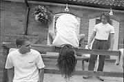Matt, Lorp and Neville outside Matt's house, UK, 1980s.