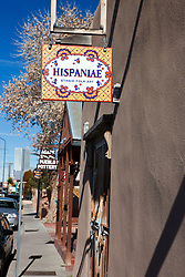 Shop sign for the Hispaniae Ethnic Folk Art gallery, Albuquerque, New Mexico, United States of America