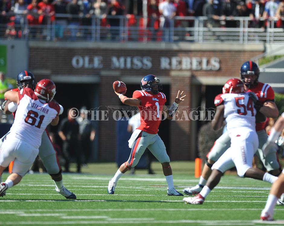 Ole Miss quarterback Randall Mackey (1) passes vs. Arkansas at Vaught-Hemingway Stadium in Oxford, Miss. on Saturday, October 22, 2011. Arkansas won 29-24..