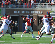 Ole Miss quarterback Randall Mackey (1) passes vs. Arkansas at Vaught-Hemingway Stadium in Oxford, Miss. on Saturday, October 22, 2011. Arkansas won 29-24..