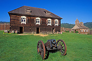 Cannon, officers residence and chapel at Fort Ross, Fort Ross State Historic Park, California