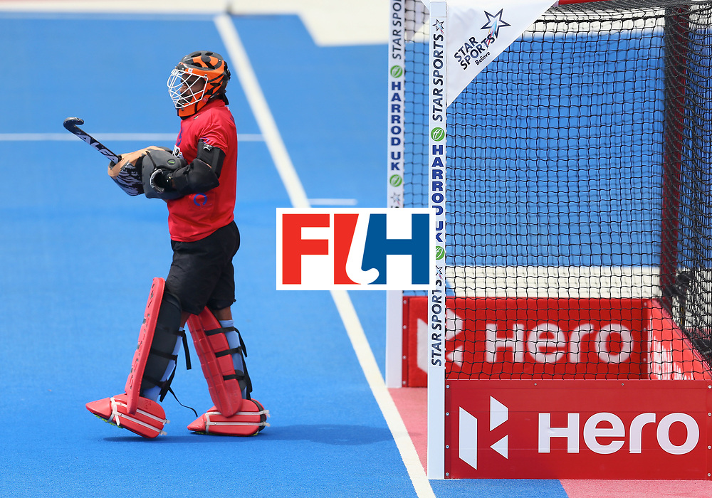 LONDON, ENGLAND - JUNE 24: Vikas Dahiya of India in action during the 5th-8th place match between Pakistan and India on day eight of the Hero Hockey World League Semi-Final at Lee Valley Hockey and Tennis Centre on June 24, 2017 in London, England. (Photo by Steve Bardens/Getty Images)