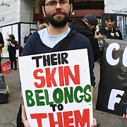 Animal activists demonstrat against fur and company supports animals cruelty at London Fashion Week at Strand, UK 15 September 2018.