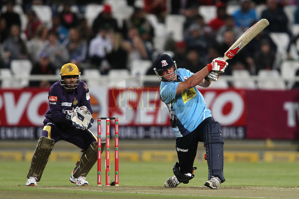Lou Vincent of the Auckland Aces attacks a delivery during match 5 of the Karbonn Smart CLT20 South Africa between The Kolkata Knight Riders and The Auckland Aces held at Newlands Stadium in Cape Town, South Africa on the 15th October 2012..Photo by Shaun Roy/SPORTZPICS/CLT20