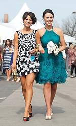 LIVERPOOL, ENGLAND - Friday, April 9, 2010: Nicola Johnson from Bristol (L) and Sproule from Northern Ireland during the second day of the Grand National Festival at Aintree Racecourse. (Pic by David Rawcliffe/Propaganda)