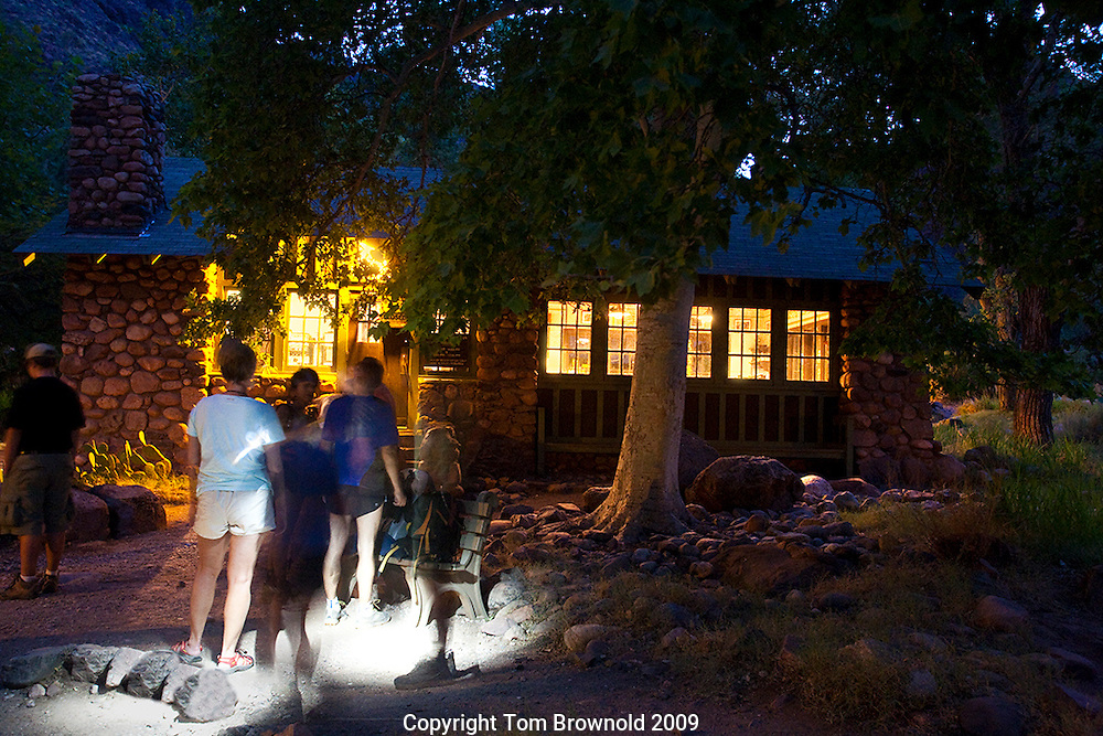 Summer Hikers waiting to enter the resaurant at Phantom ranch for their (reservations only) breakfast.