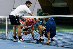 Sven Lah, Bor Muzar Schweiger and Aljaz Jakob Kaplja  playing final match during Slovenian men's doubles tennis Championship 2019, on December 29, 2019 in Medvode, Slovenia. Photo by Vid Ponikvar/ Sportida