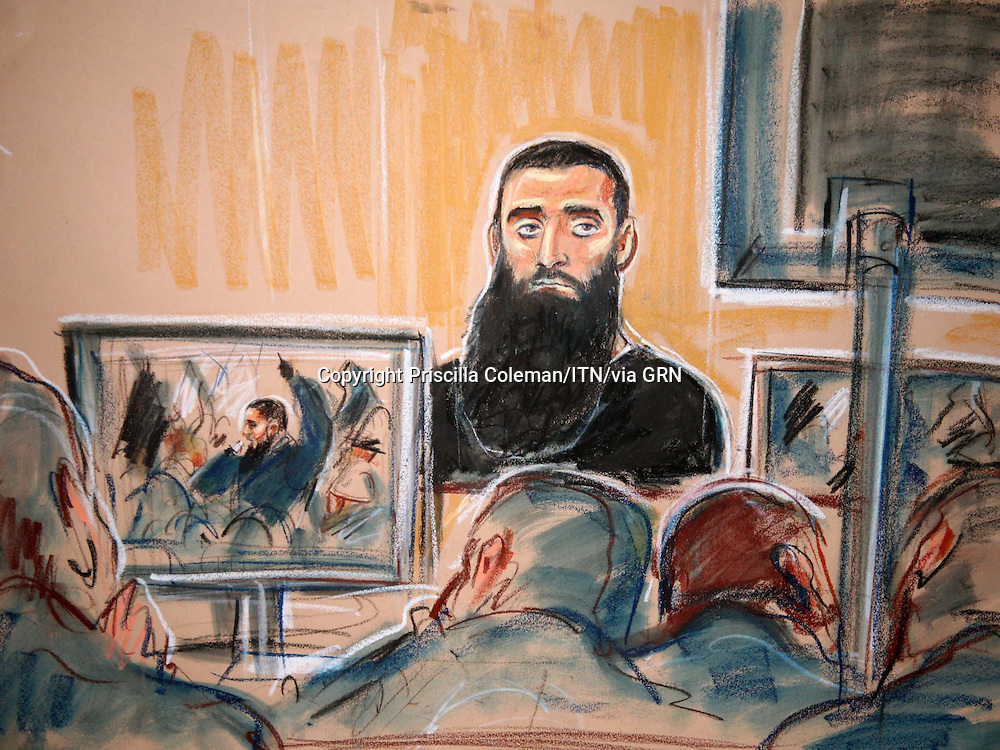 ©Priscilla Coleman ITV News.Supplied by: Photonews Service Ltd Old Bailey.Pic shows: Umran Javed, in the dock at the Old Bailey where he faces charges of soliciting murder and stirring up racial hatred. The offences occured during a protest at the Danish Embassy after Danish newspapers published cartoons of Mohammed. See story  .Illustration: Priscilla Coleman ITV News
