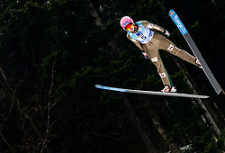 Zdenka Pesatova of Czech Republic soaring through the air during Trial Round at Day 1 of World Cup Ski Jumping Ladies Ljubno 2019, on February 8, 2019 in Ljubno ob Savinji, Slovenia. Photo by Matic Ritonja / Sportida