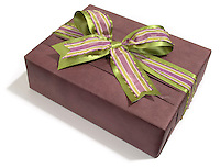 maroon giftbox with a green and purple satin bow