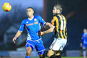 Rhys Bennett, Sam FOley during the Sky Bet League 1 match between Rochdale and Port Vale at Spotland, Rochdale, England on 28 November 2015. Photo by Daniel Youngs.