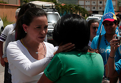July 5, 2018 - Valencia, Carabobo, Venezuela - July 05, 2018. Maria Corina Machado (l), opposition leader for the Venezuelan party, visited the parish Miguel Pena, to celebrate its first Citizen Congress, where he expected the views of citizens on the situation of the country. In Valencia, Venezuela. Photo: Juan Carlos Hernandez (Credit Image: © Juan Carlos Hernandez via ZUMA Wire)