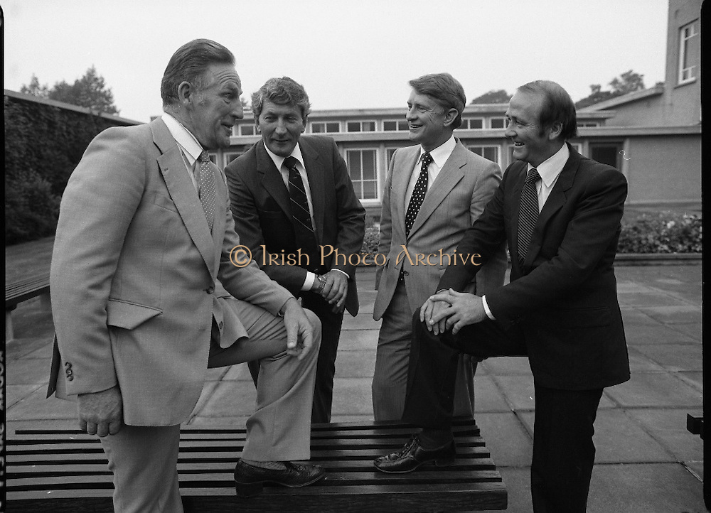 Christy O'Connor Pro-Am Press Release.    (N91)..1981..07.09.1981..09.07.1981..7th September 1981..The Links Golfing Society in conjunction with Esso Teoranta announced the upcoming Christy O'Connor Pro-Am at Grange Golf Club on 21st September.The main purpose of the Links Golfing Society is to raise funds for Children's Charities. Last year the Golf Classic raised £20,000 for the various charities. With a prize fund of £20,000 the Classic has attracted many of the European Ryder Cup Players such as Sam Torrence,Des Smyth,Eamon Darcy and Manuel Pinero to name but a few...Image shows Mr Noel Fogarty, VP, Links Golfing Society,Mr Derek Johnston, Executive Director,ESSO Teoranta, Mr Nick Dalton, Captain,Grange Golf Club and Mr Cecil Whelan, Hon Sec,Links Golfing Society at the press release for the Golf Classic.