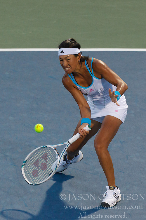 July 25, 2011; Stanford, CA, USA;  Kimiko Date-Krumm (JPN) returns the ball against Dominika Cibulkova (SVK), not pictured, during the first round of the Bank of the West Classic women's tennis tournament at the Taube Family Tennis Stadium.  Cibulkova defeated Date-Krumm 6-2, 7-6.