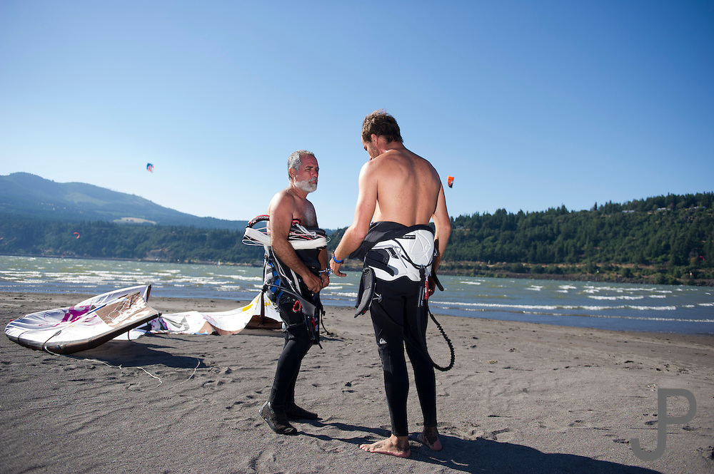 Alfonso and Fernando discuss the wind and waves on their first day of kiteboarding in Hood River, Oregon
