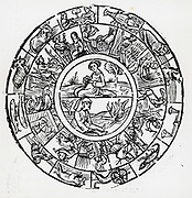 The Earth, the seasonal occupations and the signs of the Zodiac governing them. Early 16th century woodcut.