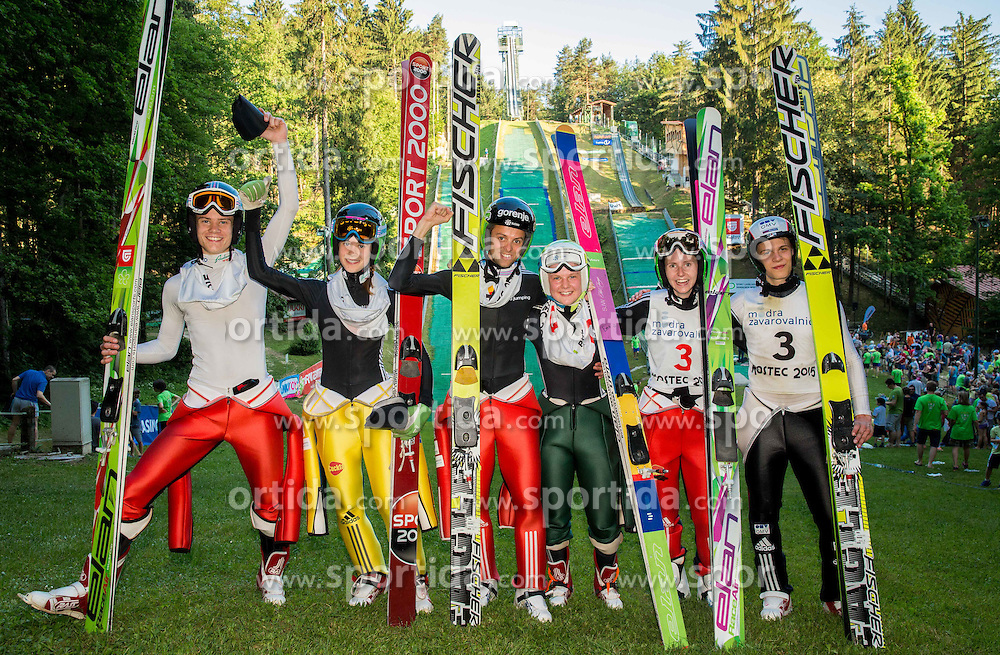 Second placed Tine Bogataj and his sister Ursa Bogataj, winners Tomaz Naglic and Ema Klinec and third placed Katja Pozun and Frantisek Holik during Ski jumping Summer cup - Revija skokov Mostec on June 7, 2015 in Mostec hill, Ljubljana, Slovenia. Photo by Vid Ponikvar / Sportida